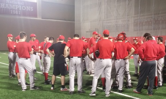 Ohio State head coach Greg Beals addresses his team during practice.